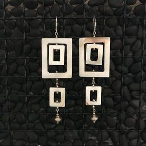 Rectangle Shell Bead Earrings